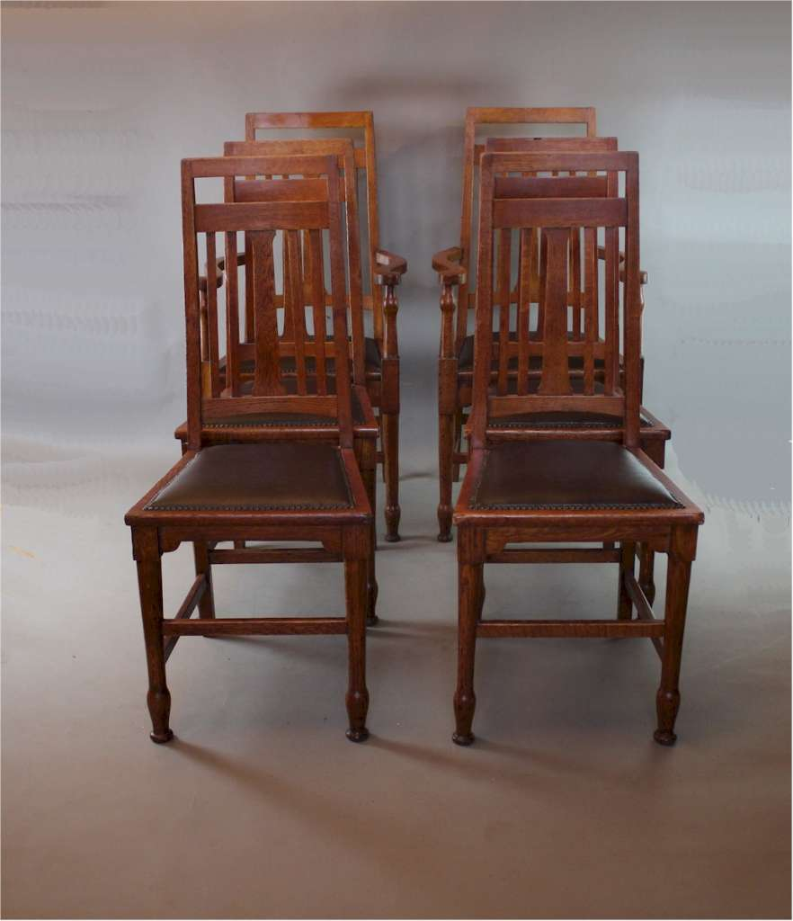 Set of six oak arts and crafts chairs