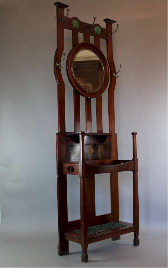 Arts and Crafts mahogany hallstand by Shapland and Petter