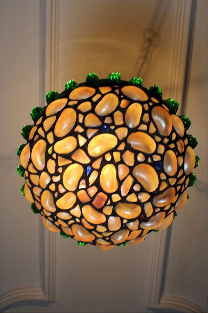 Lovely 1920's hanging ceiling light with shells and coloured glass