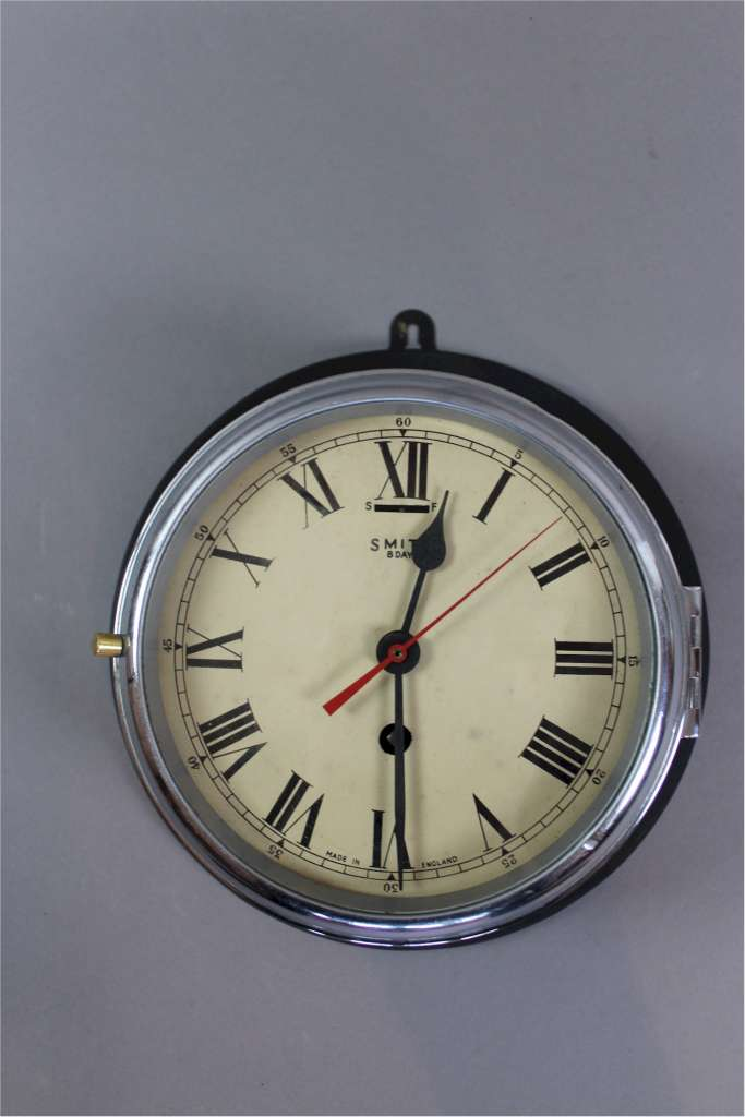 1940's chrome and black ships clock by Smiths