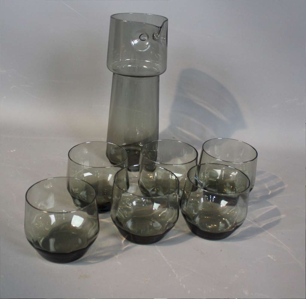 Set of six 1970's smoked glass drinking glasses