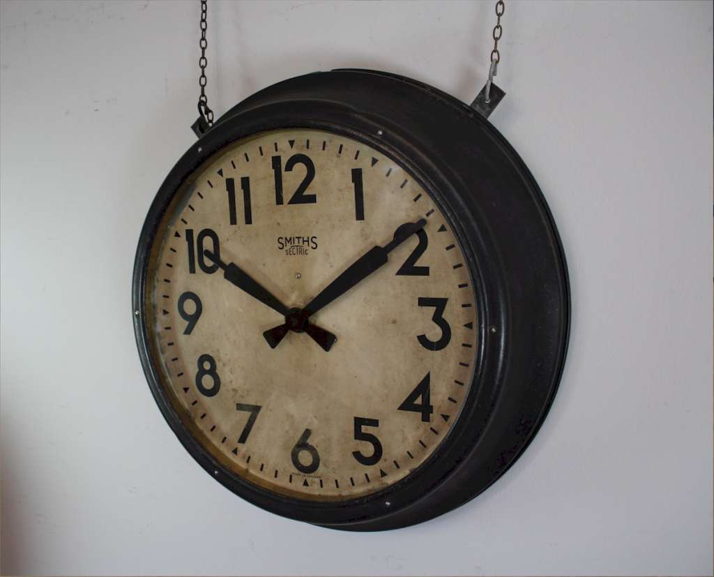 Large metal framed Factory clock by Smiths Sectric c1930's