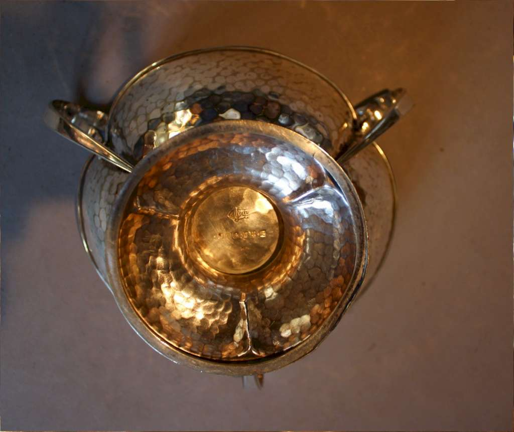 Silver plated arts and crafts nut bowl c1900