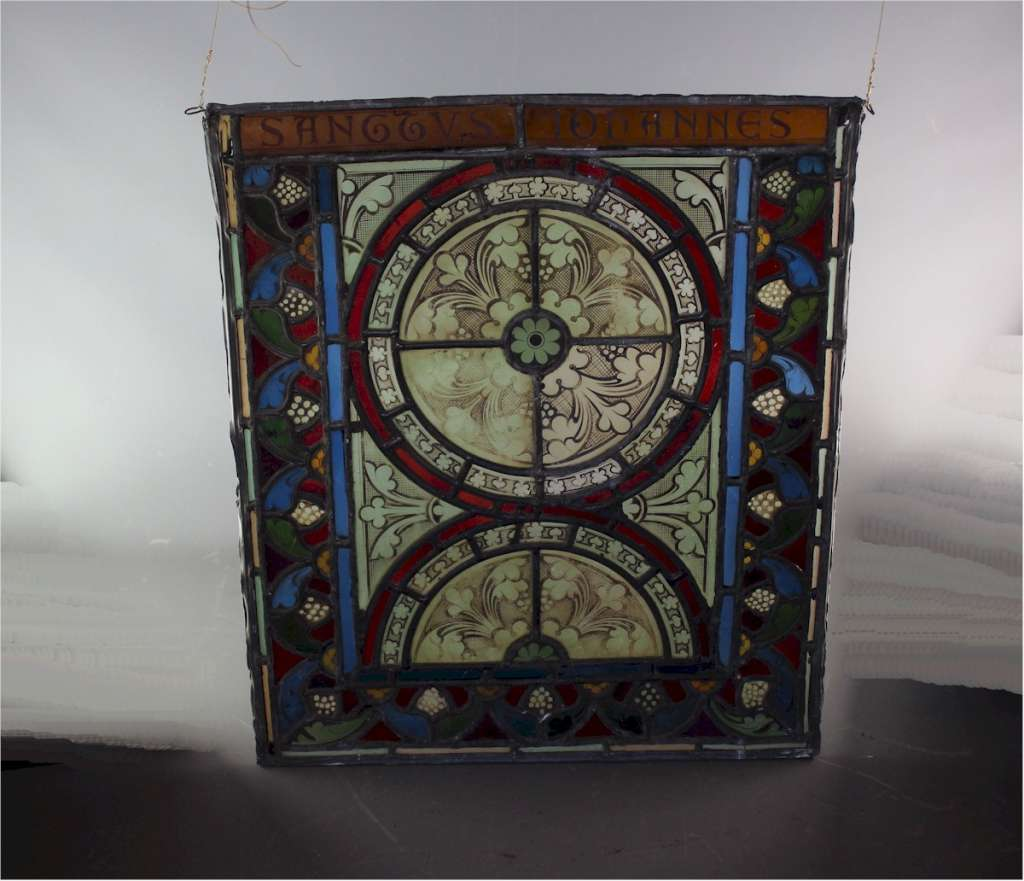 Victorian stained leaded glass panel Saint John