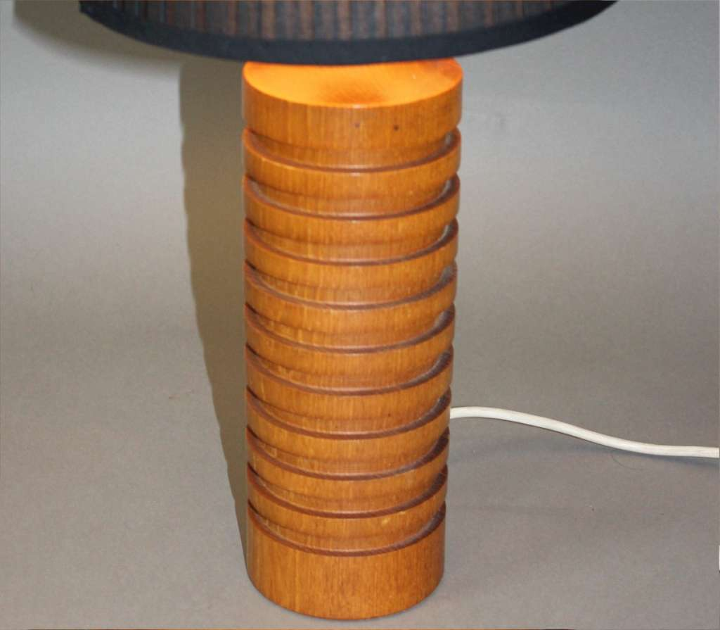 Mid Century large teak turned table lamp