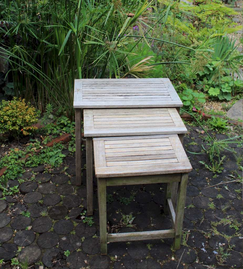 Vintage set of garden Teak nest of tables