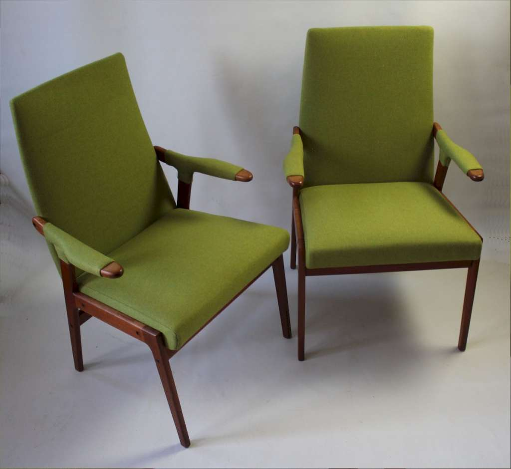 Pair of mid-century teak armchairs