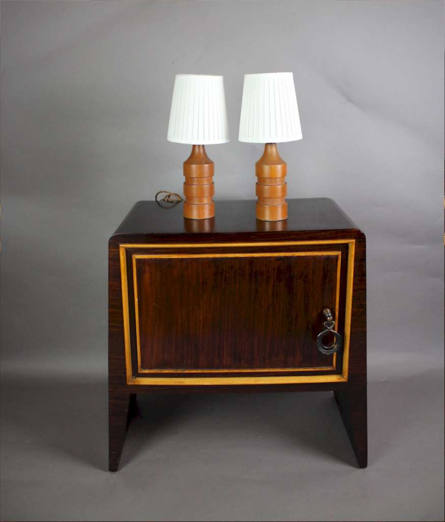 Teak mid-century pair of table lamps
