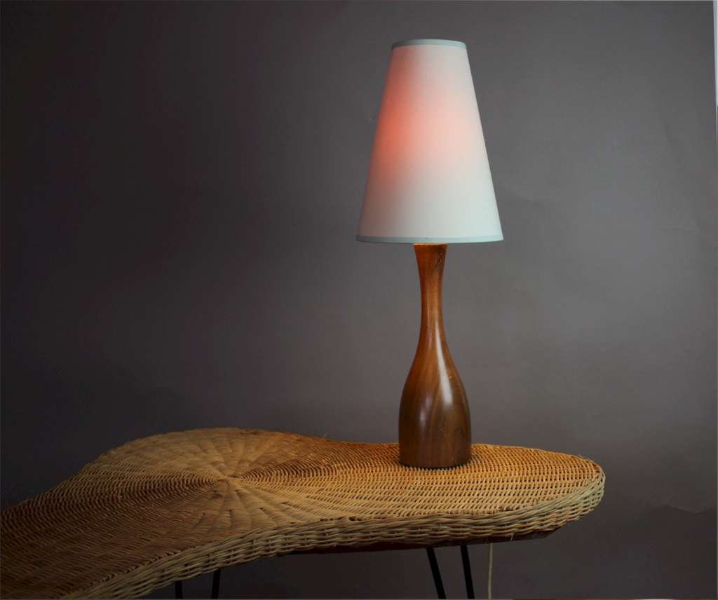 Mid Century Turned Teak table lamp