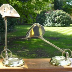 Pair of bankers lamps in brass