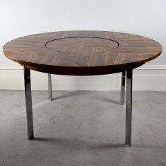 Merrow Associates circular Rosewood dining table with lazy susan