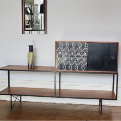 Mid-Century Teak and metal framed side table cabinet possibly Heals