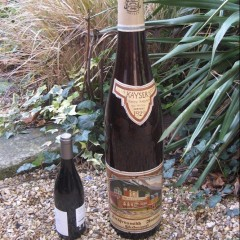 Oversized advertising Liebfraumilch wine bottle