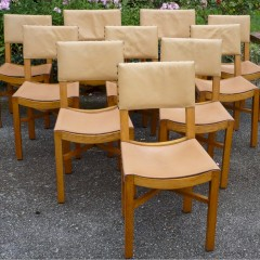 Set of 10 Cotswold school chairs in golden oak