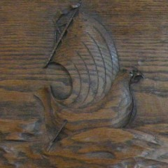 Scottish Arts and Crafts dresser with well carved galleons