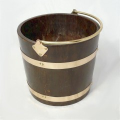 Arts and crafts period coopered coal /log bin in oak