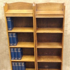 Near pair of Heals oak bookcases