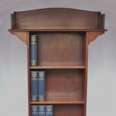 Narrow inlaid arts and crafts bookcase