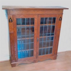 Arts and crafts bookcase leaded glass doors