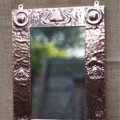 Arts and crafts mirror with stylised seed pods
