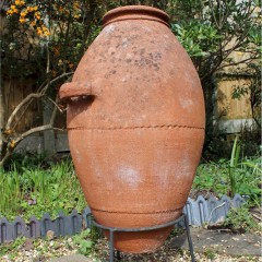 Large terracotta olive oil garden urn with one handle