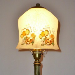 1920s brass table light with chinese lantern shade