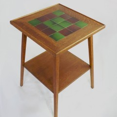 Tile topped table in golden oak