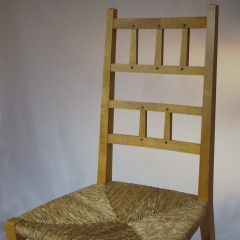 6 arts and crafts chairs , satin birch , ebony dowels