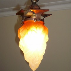 Small arts and crafts ceiling light in copper