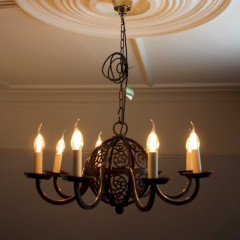 Large arts and crafts iron ceiling lamp with six branches. c1900