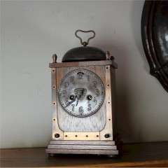 Arts and Crafts mantle clock oak and copper
