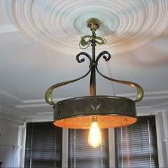 Arts and Crafts brass ceiling light