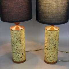 Pair of mid century teak and cork table lamps c1970's
