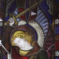 Large St George and the dragon stained glass panel 19th century