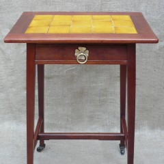 Arts and crafts tiled top table with drawer
