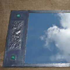 Arts and crafts mirror in pewter with cabachons