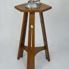 Arts and crafts side table in golden oak