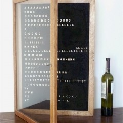 Oak notice board with moveable metal letters