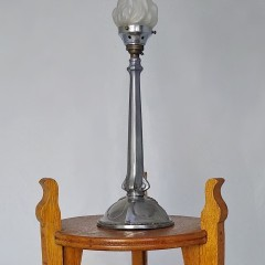 small arts and crafts lamp table in golden oak