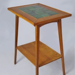 Arts and crafts tile topped table , golden oak