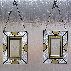 Small antique stained glass window hangers