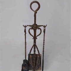 Arts and crafts wrought iron companion set