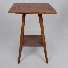 Small walnut hand carved side table