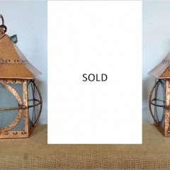 Set of 3 arts and crafts ceiling lights , copper on brass