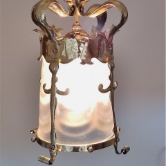 Arts and crafts ceiling light , hammered brass