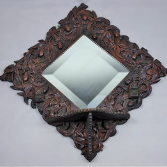 Magnificant Victorian carved oak mirror