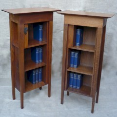 Pair of arts and crafts bookcases in golden oak