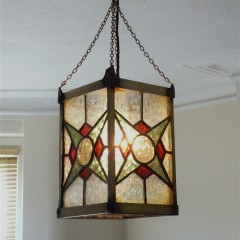 Arts and crafts brass lantern coloured leaded glass