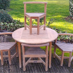 Circular teak Garden table and chairs