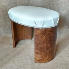 Art Deco stool in Burr Walnut and creme leather